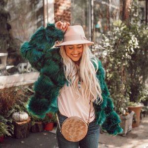ASOS emerald green faux fur coat